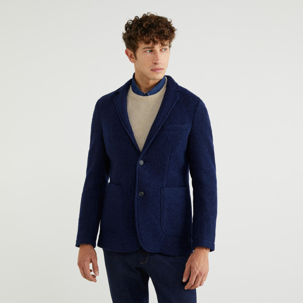 Blazer in boiled wool