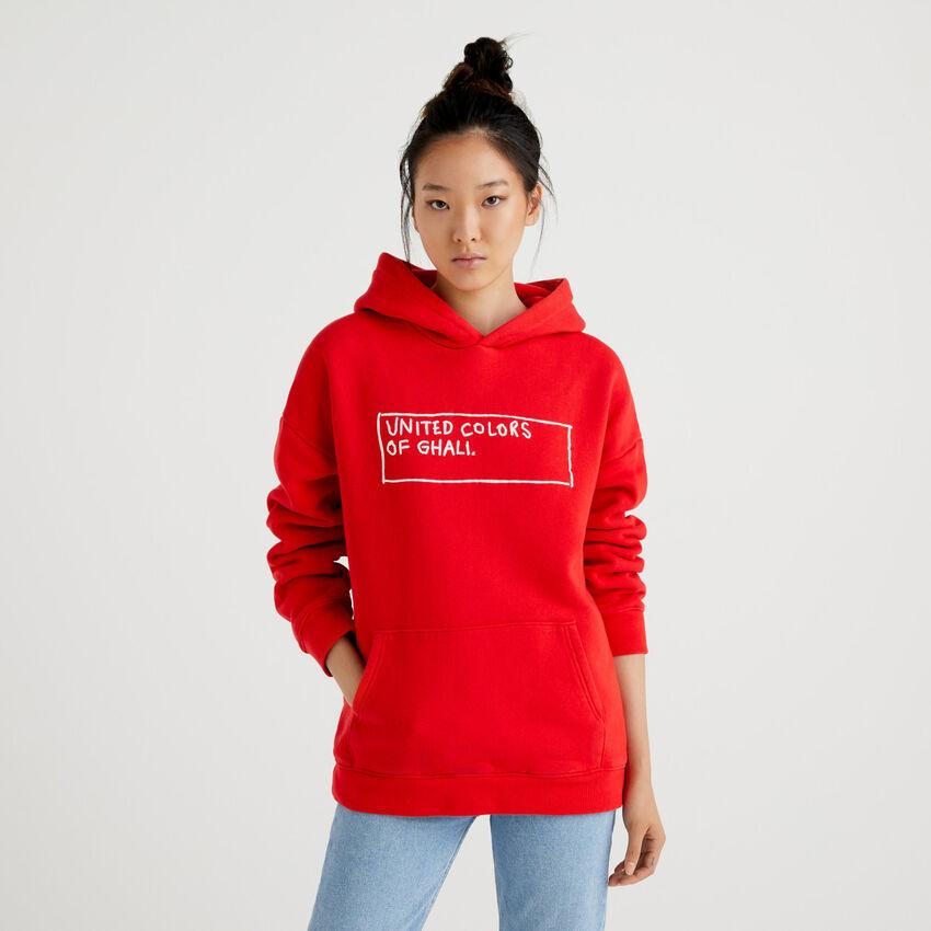 Red unisex hoodie by Ghali