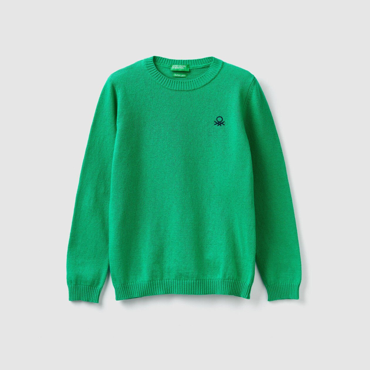 Crew neck sweater in wool and cashmere