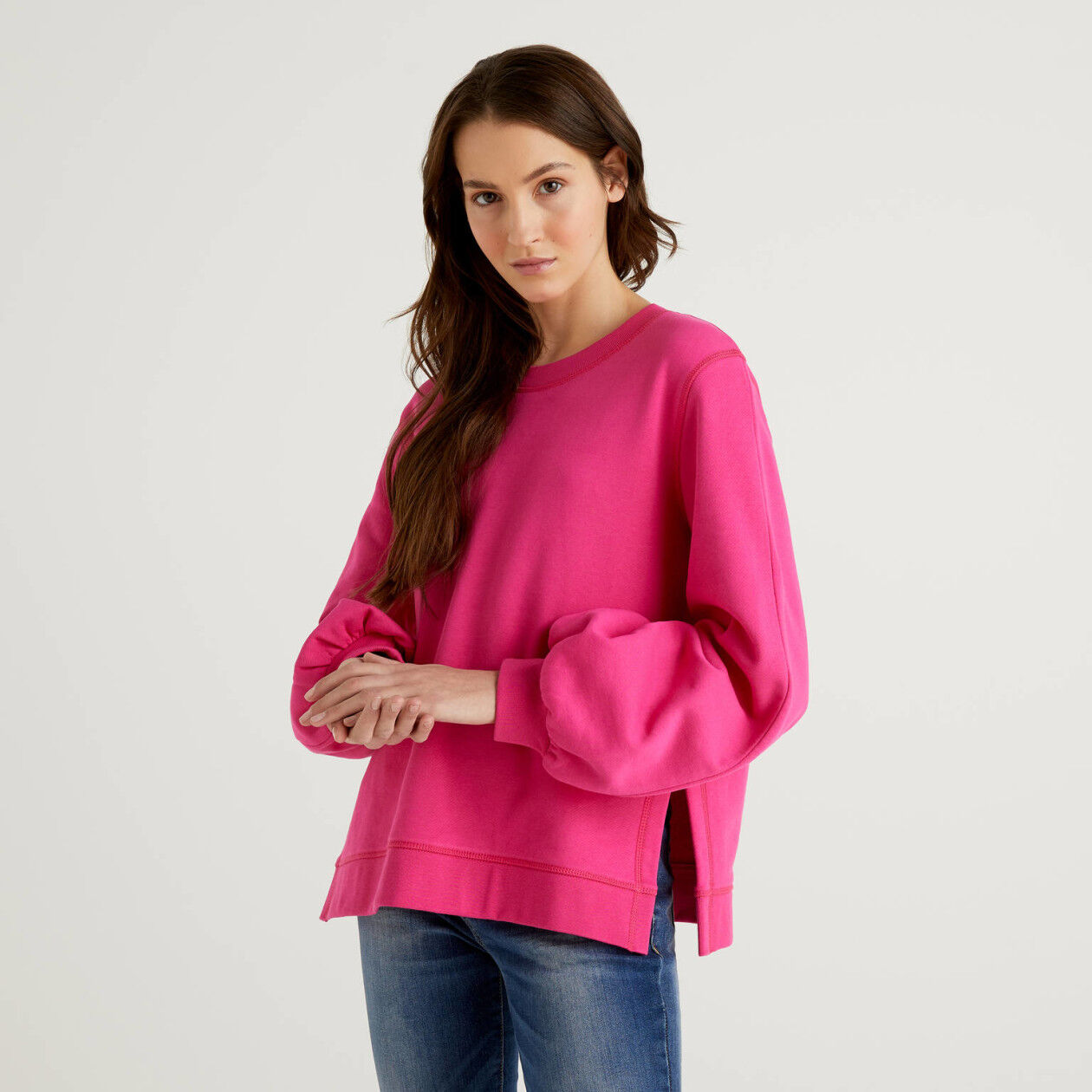 Cotton sweatshirt with puff sleeves