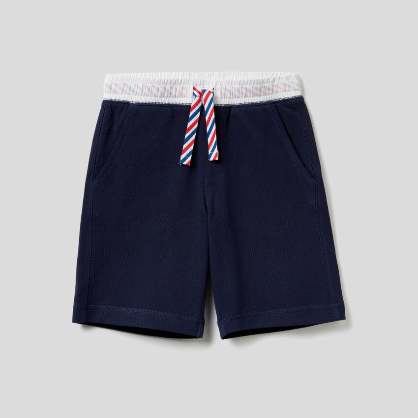 Cotton bermudas with drawstring