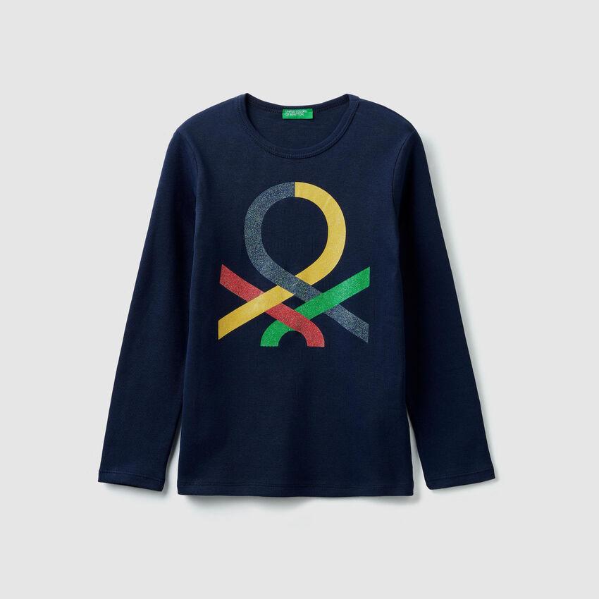 Ribbed t-shirt with logo print