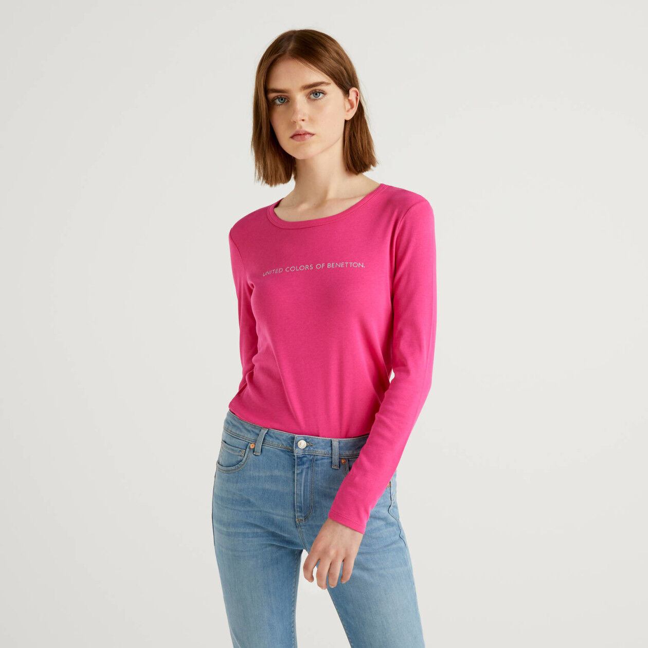 Long sleeve fuchsia t-shirt in 100% cotton