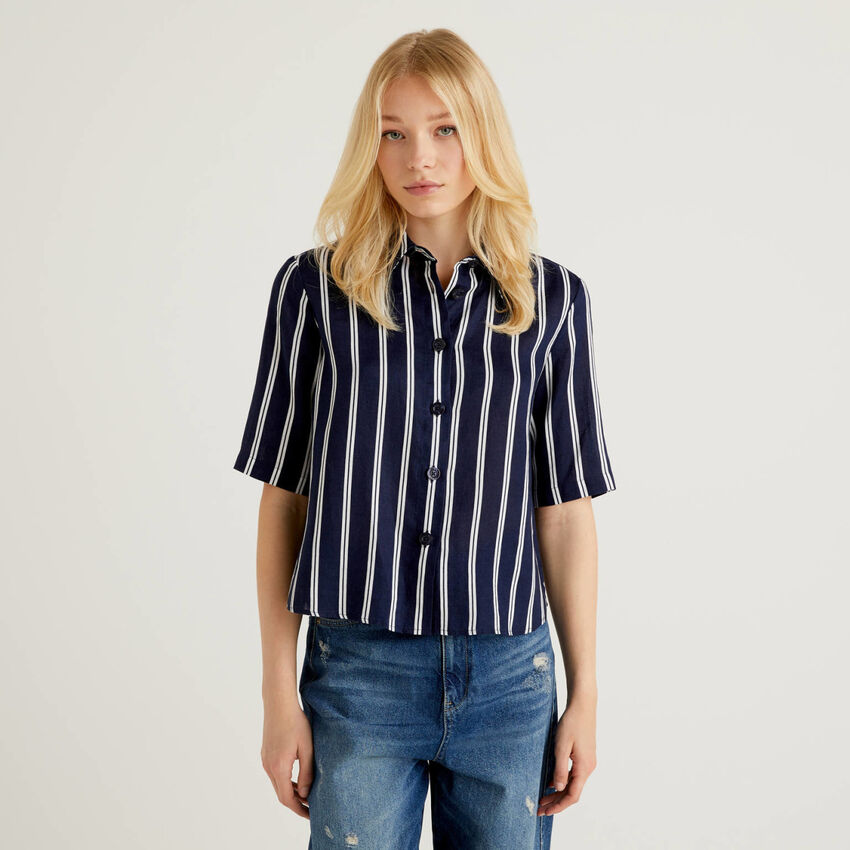 Camisa de 100% lino con estampado