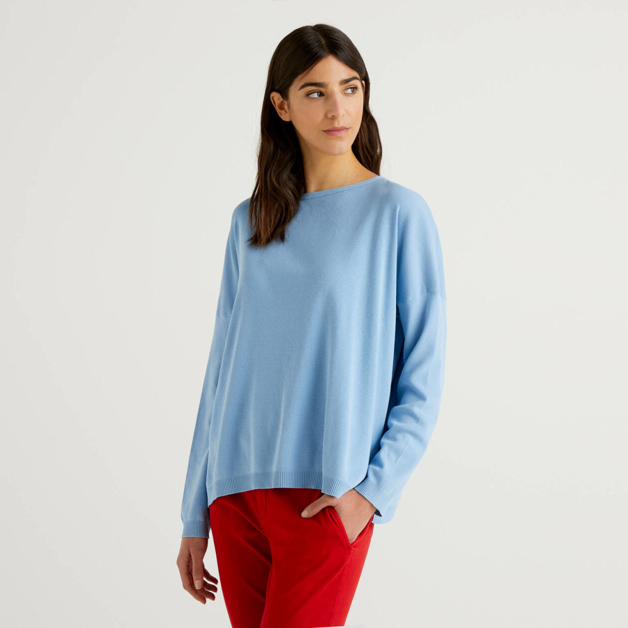 Round neck sweater in cotton