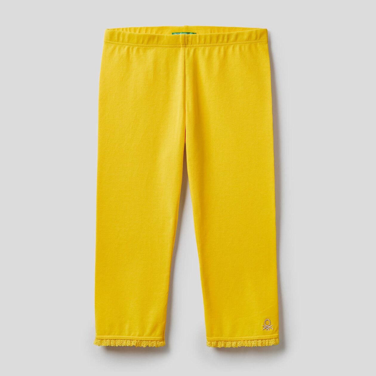 3/4 leggings with lurex logo