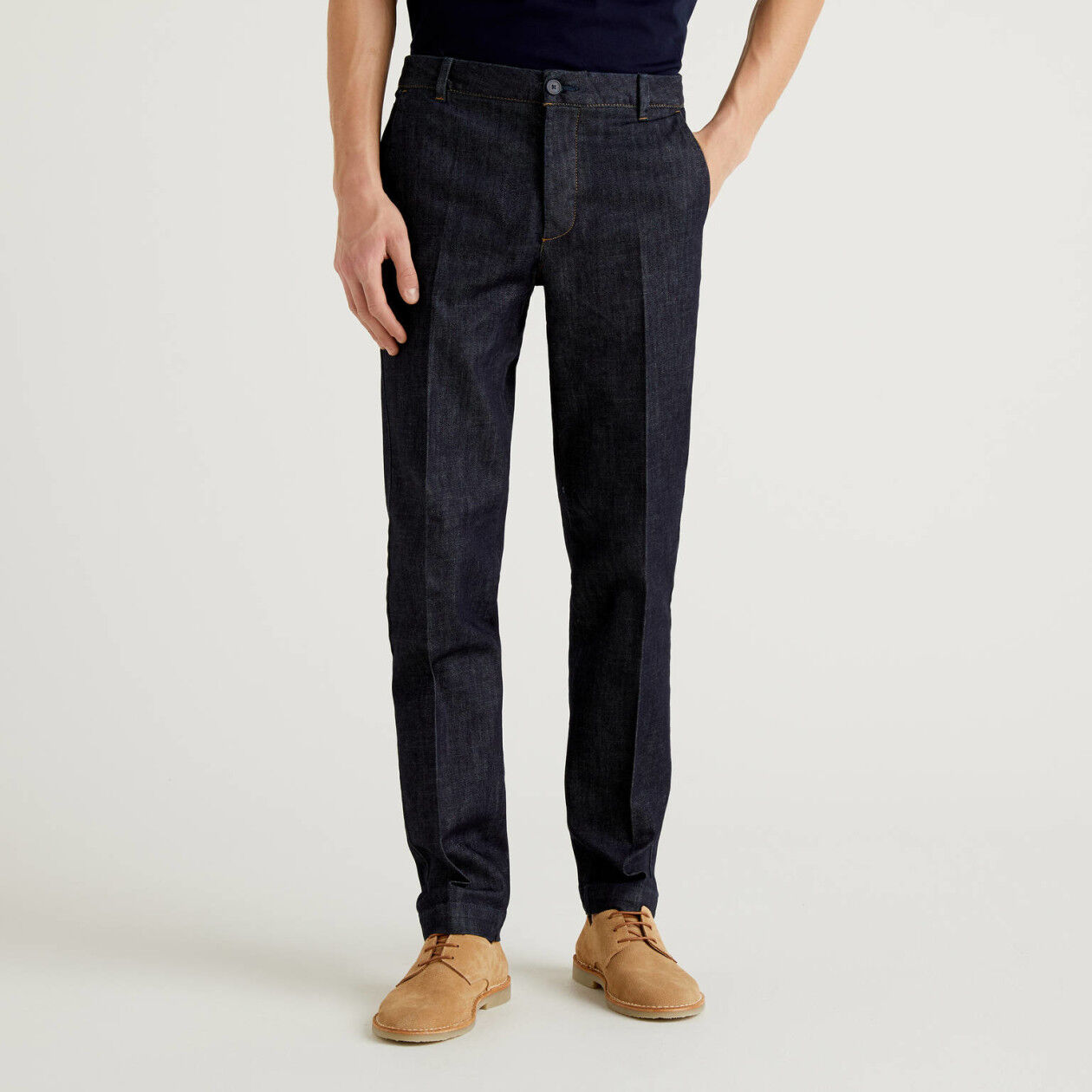Denim chinos in stretch cotton