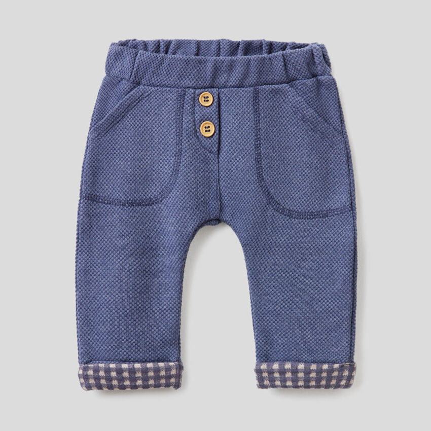 Trousers in pique fabric