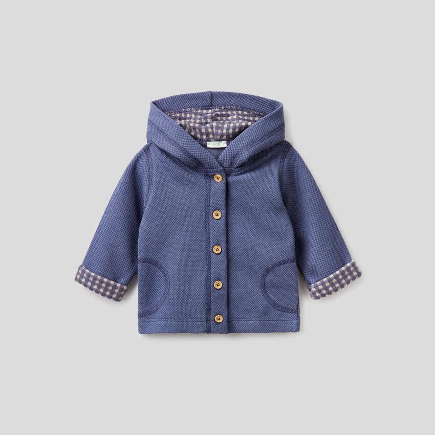 Sweatshirt in pique fabric with hood