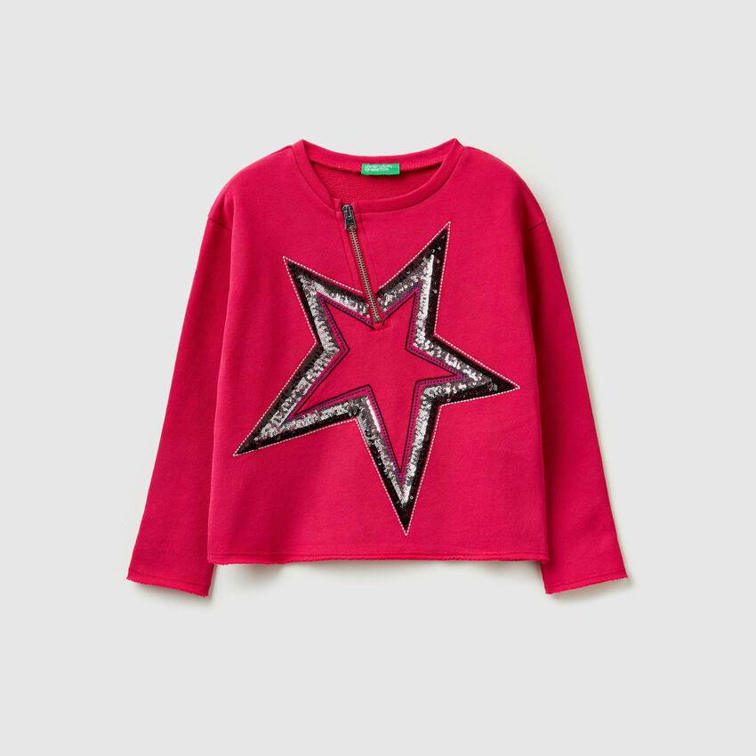 Sweatshirt with sequins and zip