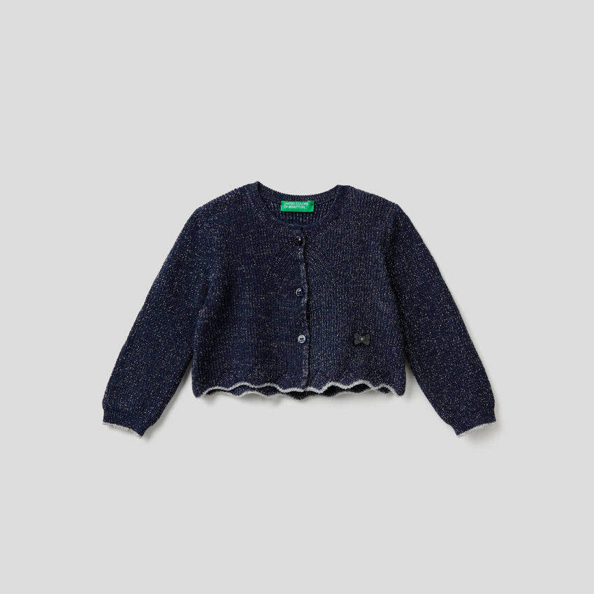 Button-down top with lurex