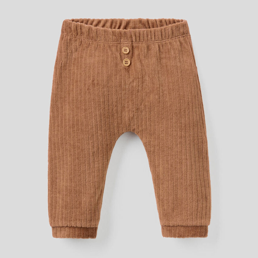 Chenille trousers with animal