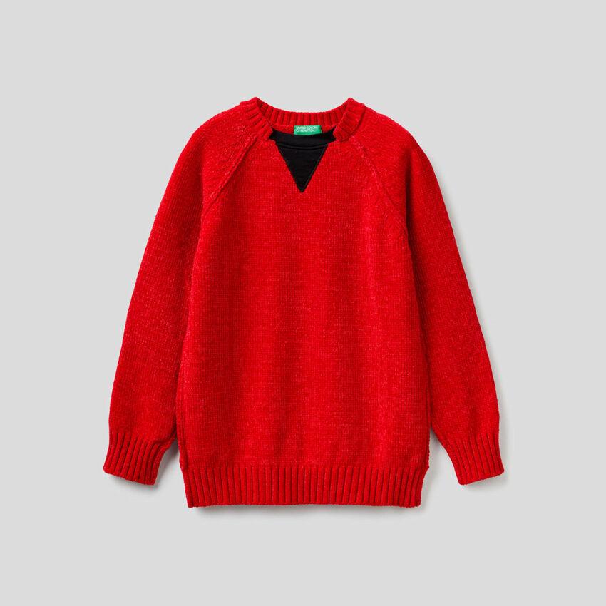 Jersey de chenilla con detalles a contraste