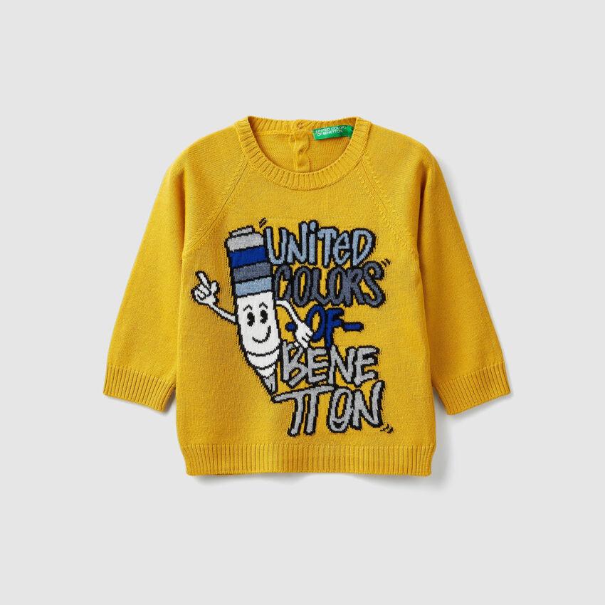 Crew neck sweater with inlay