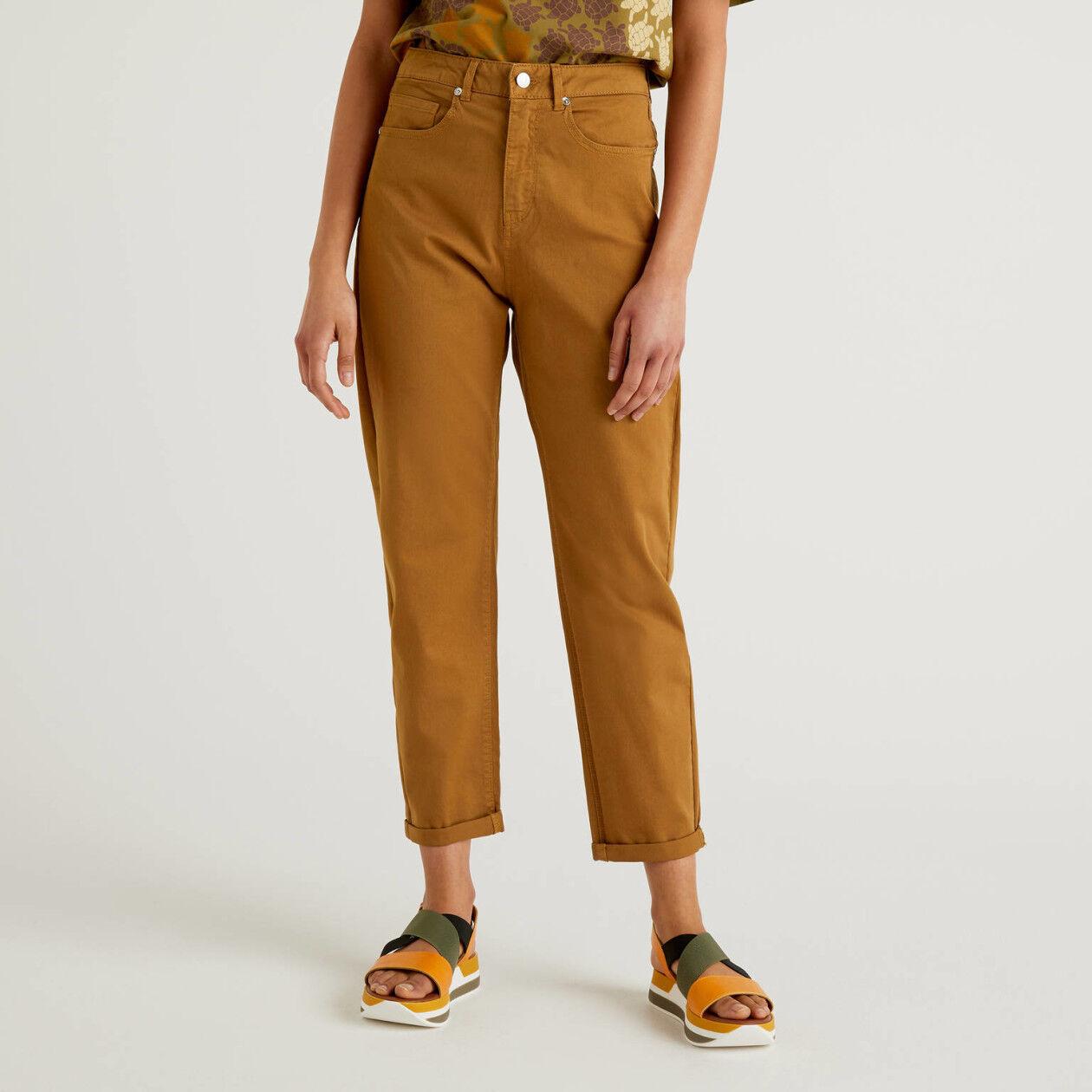 Boyfriend trousers in stretch cotton