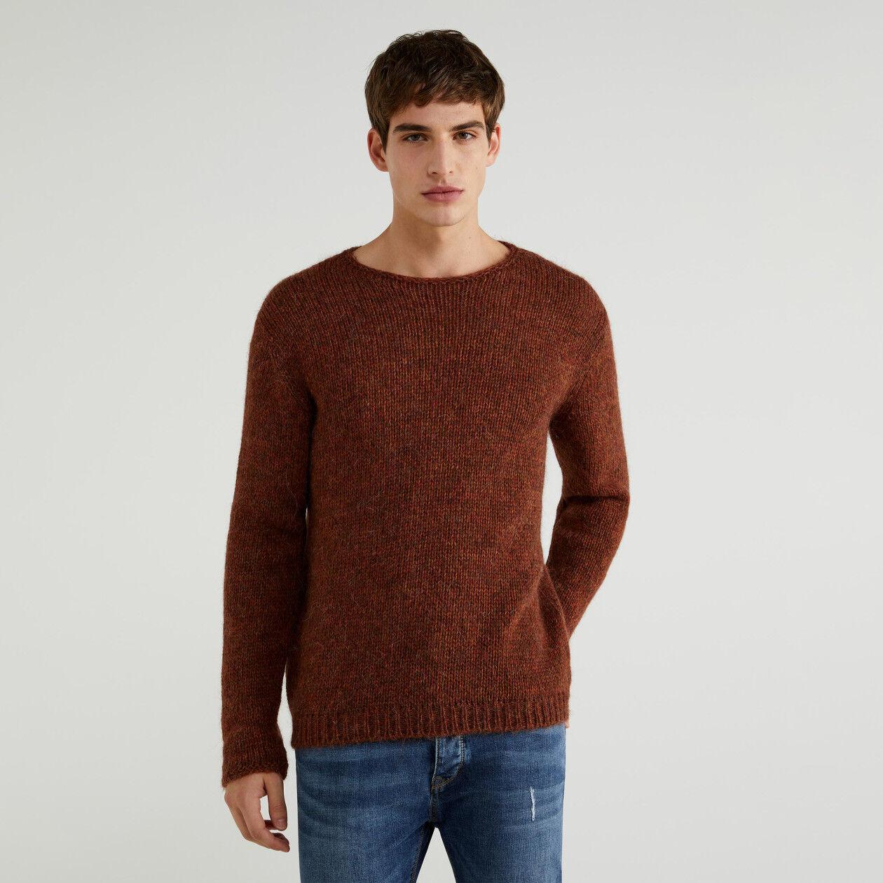 Jersey de cuello redondo de alpaca mixta