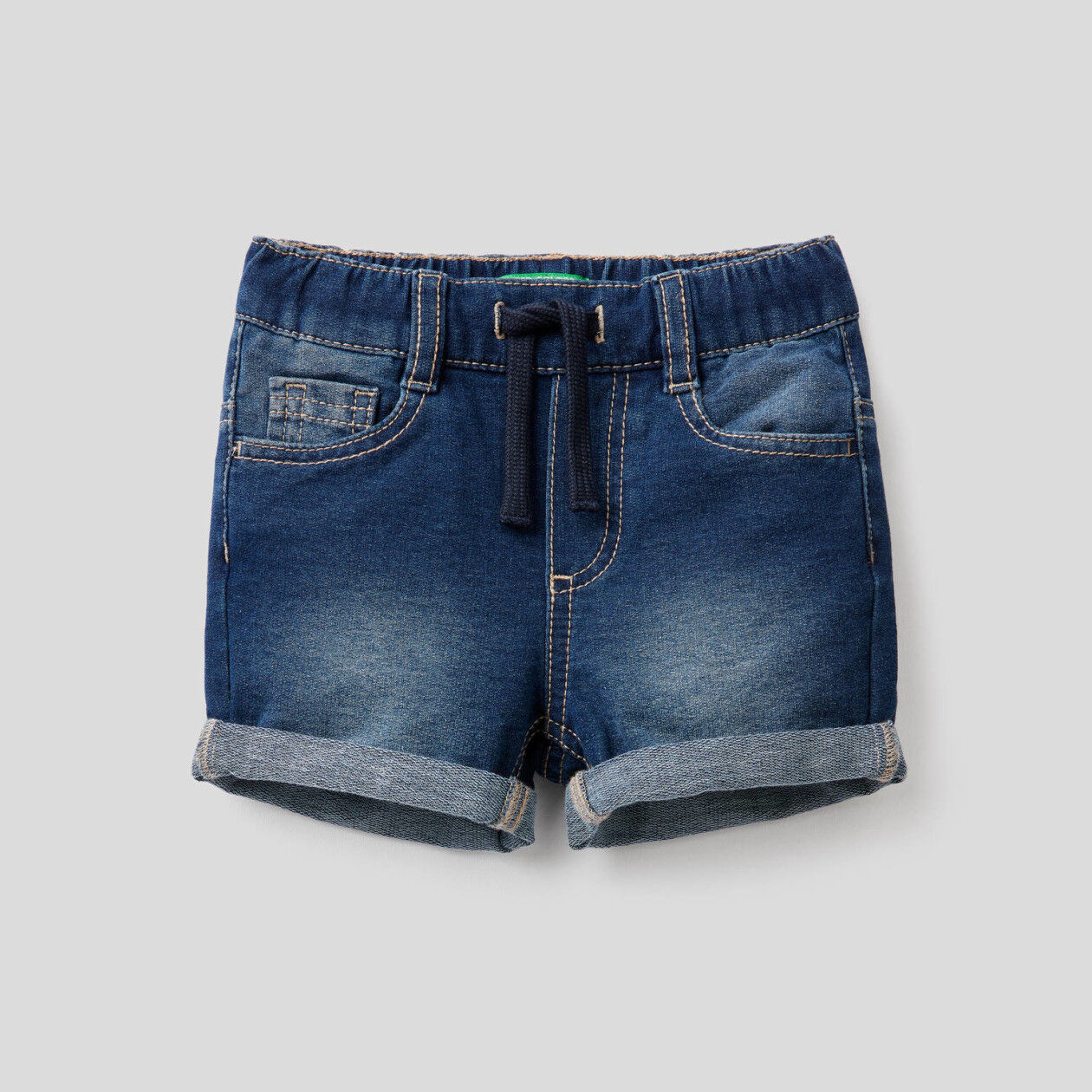 Denim look sweat shorts