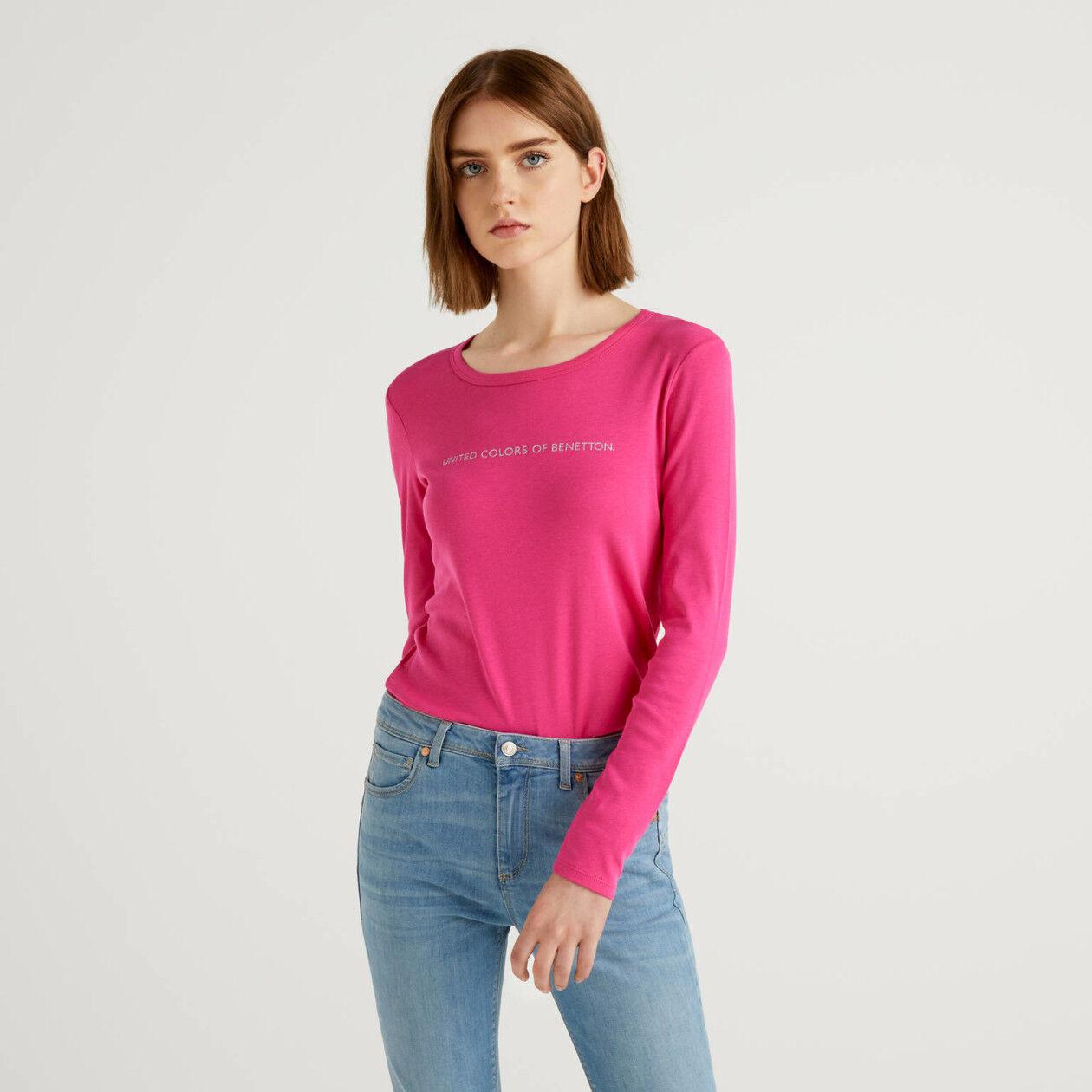 Long sleeve fuchsia t-shirt in 100% cotton