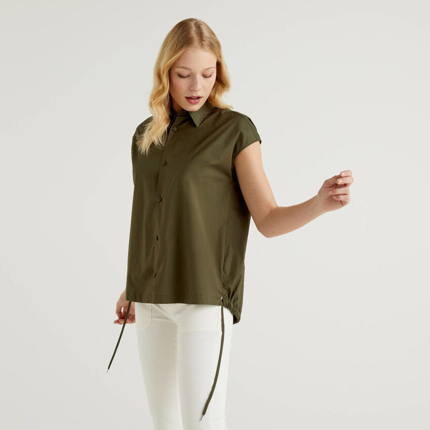 Blouse in stretch cotton with drawstring