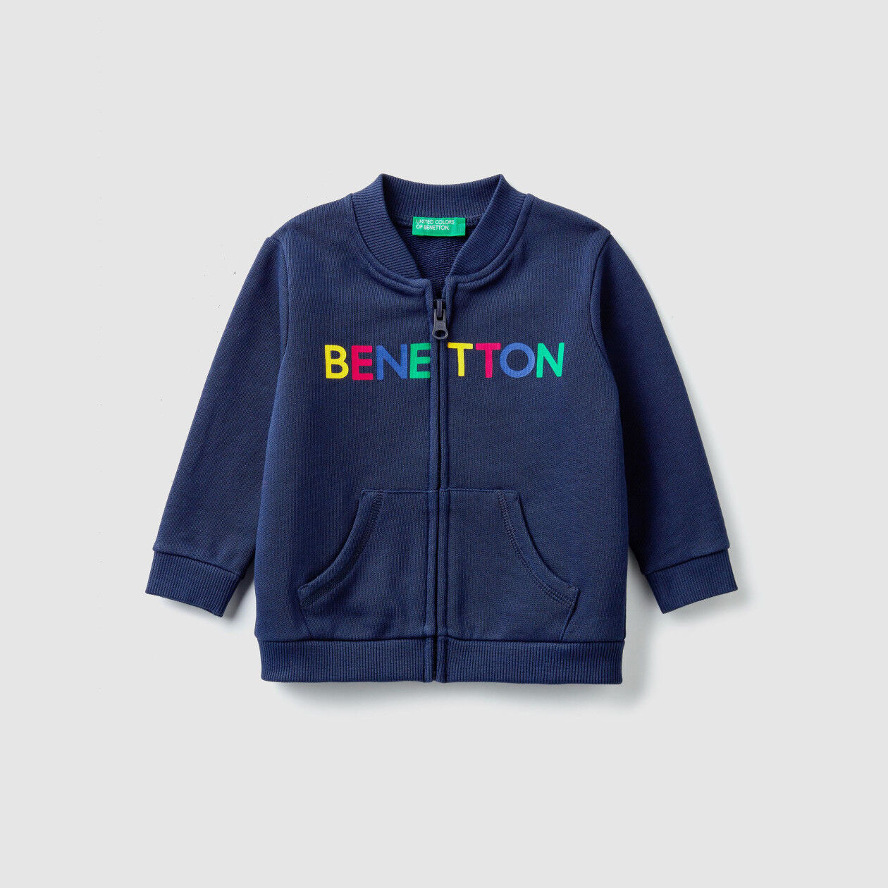 Zip-up sweatshirt with logo print