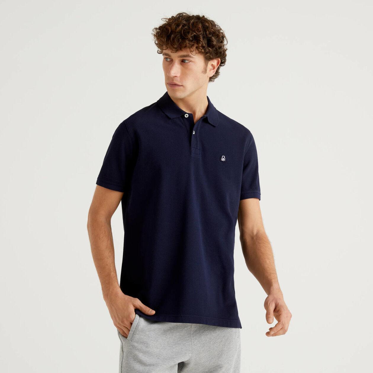 Dark blue regular fit polo