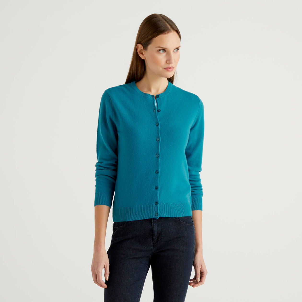 Teal crew neck cardigan in pure virgin wool