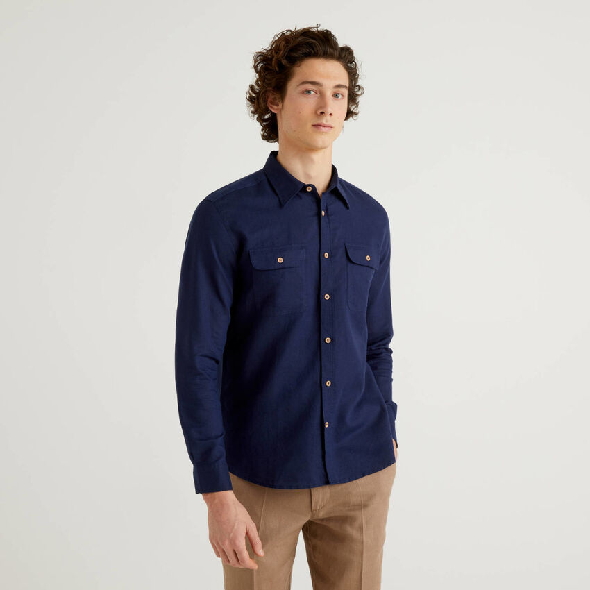 Regular fit shirt in linen blend cotton