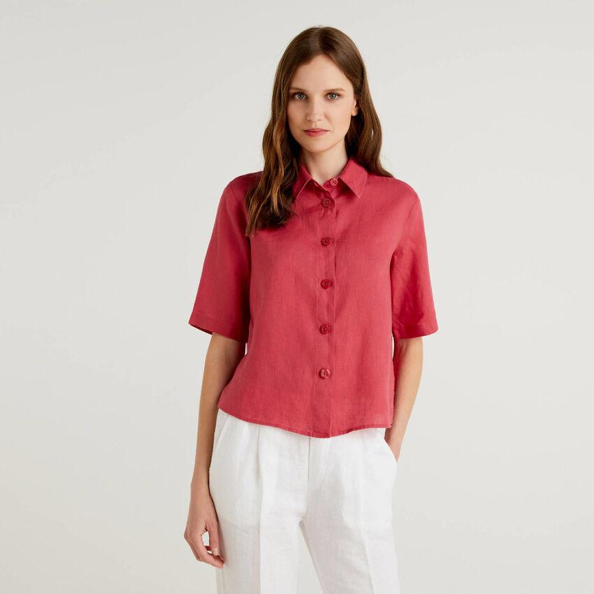 Camisa corta de puro lino