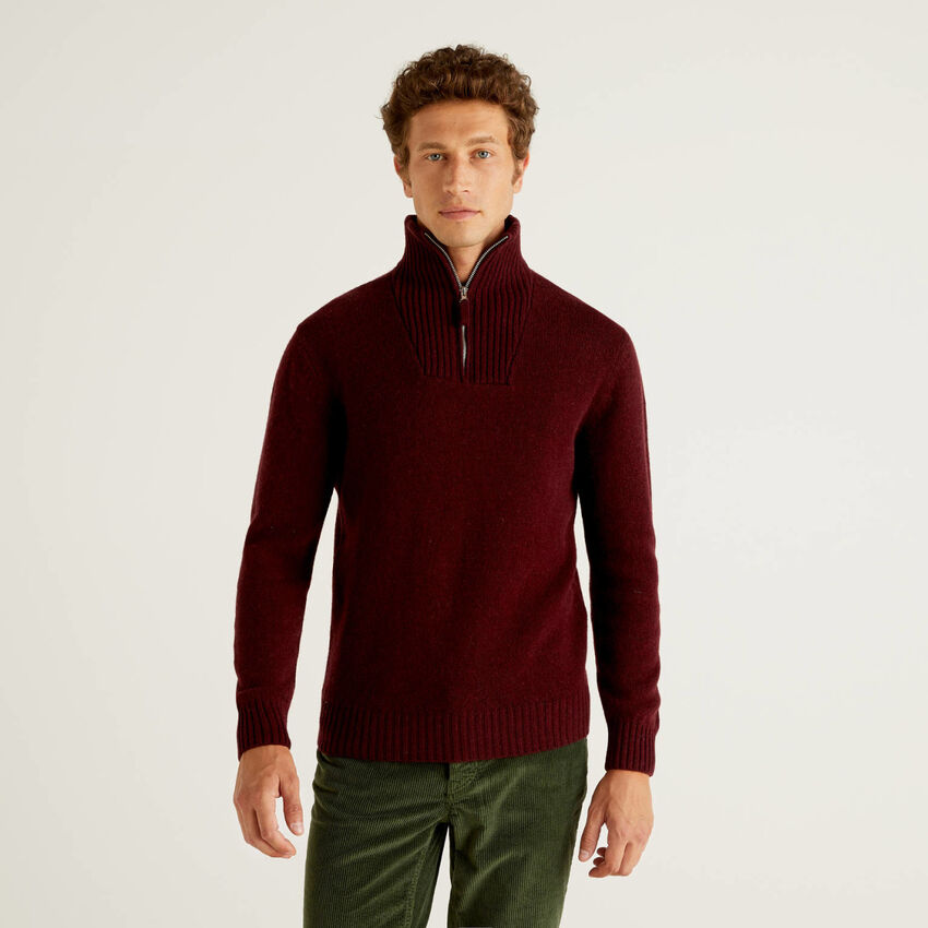 Sweater with zipped collar in pure wool