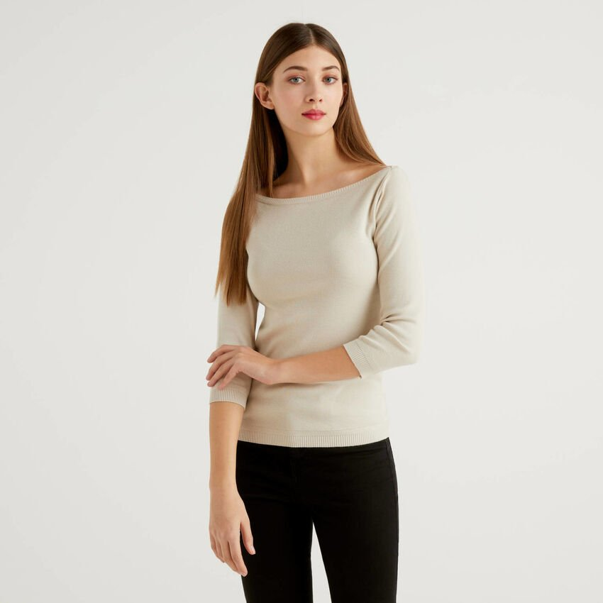 100% cotton boat neck sweater