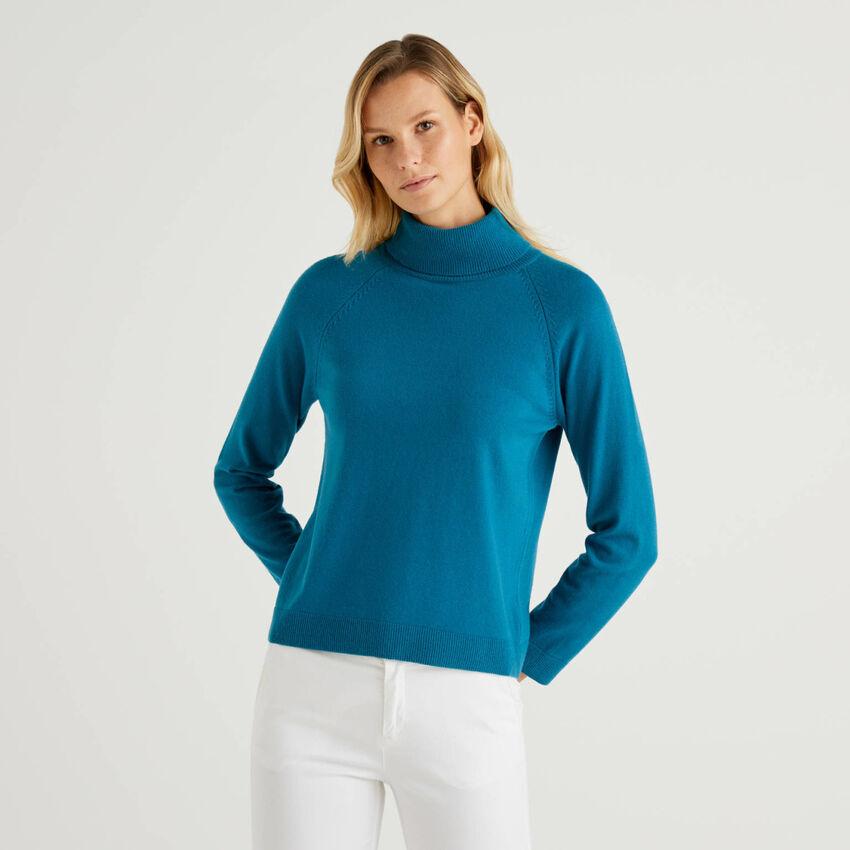 Jersey de cuello alto petróleo en mezcla de lana y cachemir