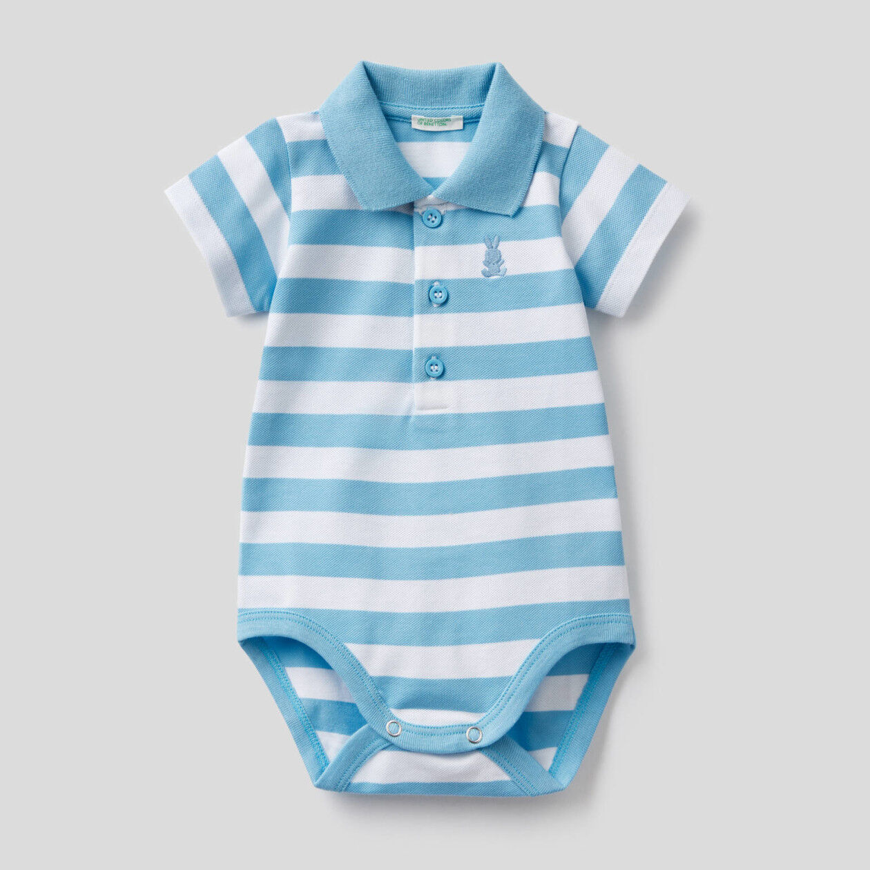 Polo bodysuit in stretch cotton