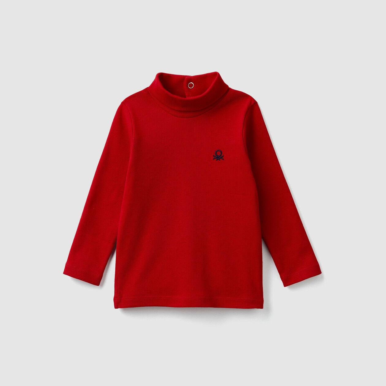 Turtleneck t-shirt in organic cotton