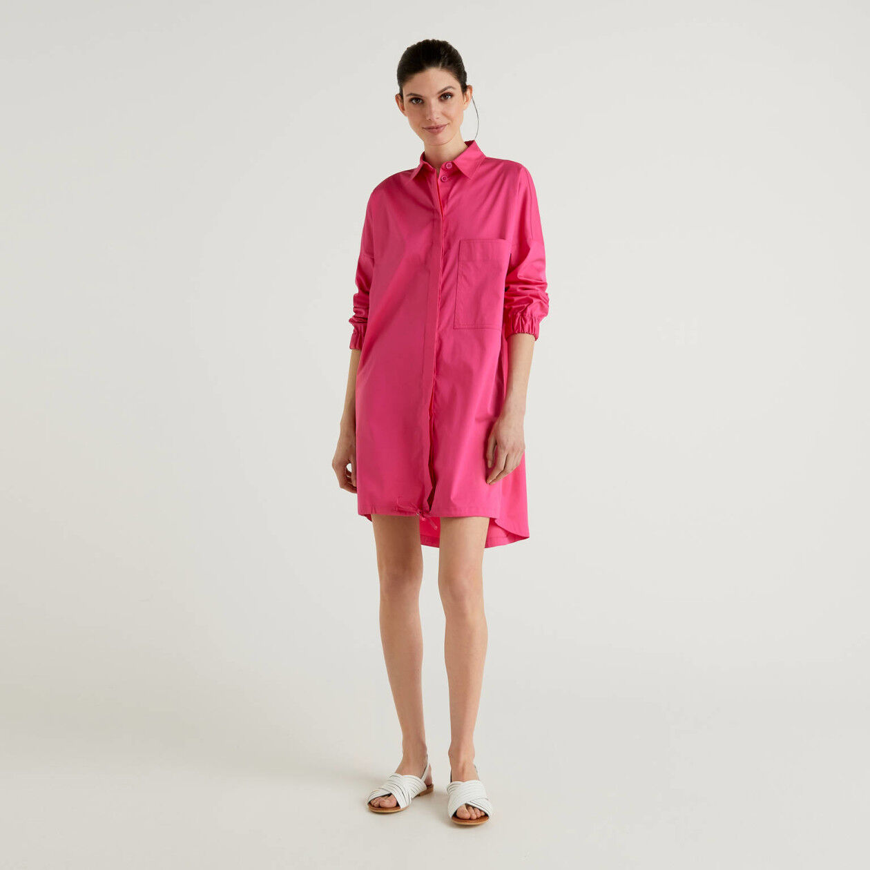 Shirt dress with drawstring