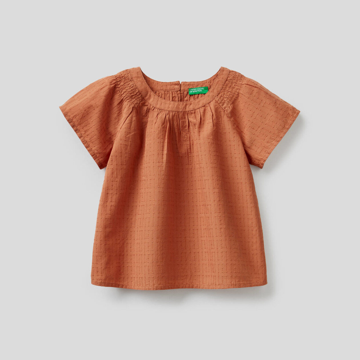 Embroidered blouse in 100% cotton