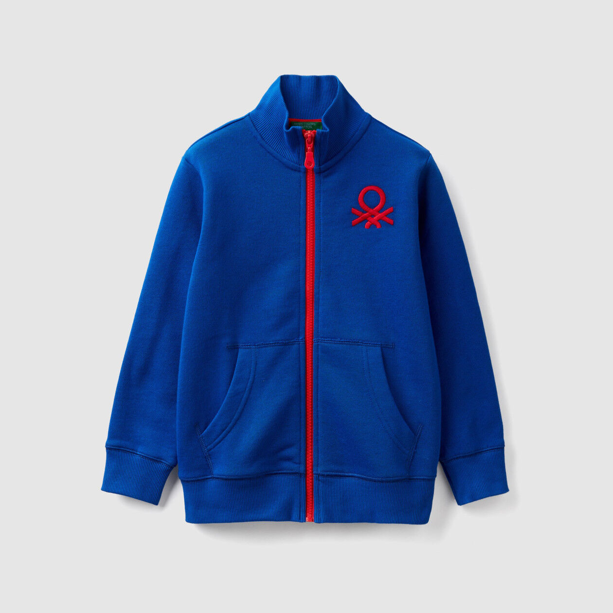 Sweatshirt with zip and logo