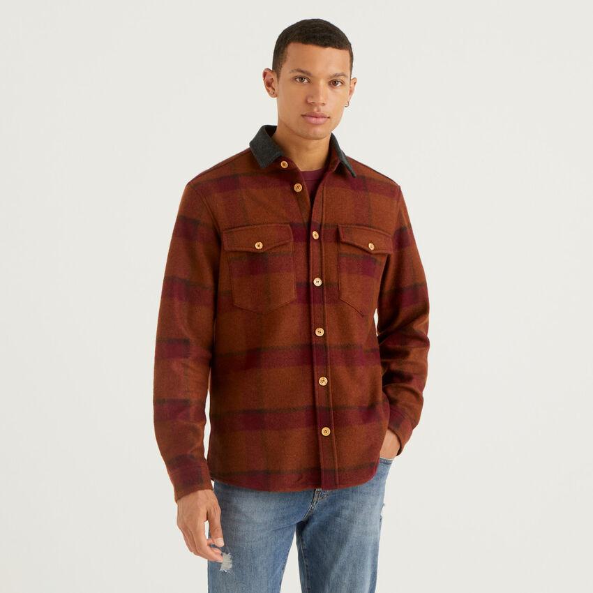 Shirt-jacket in wool blend