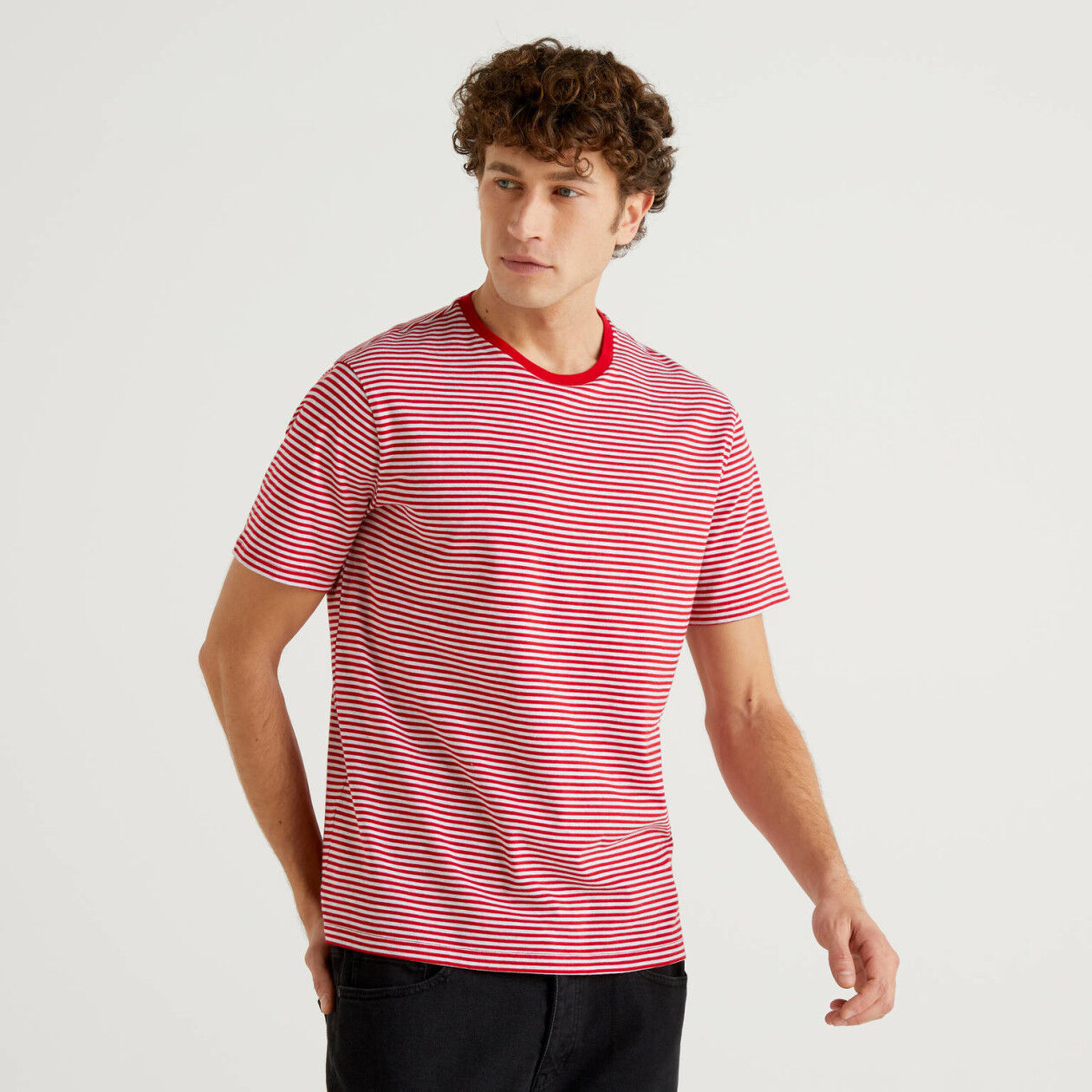 Two-tone stripe t-shirt