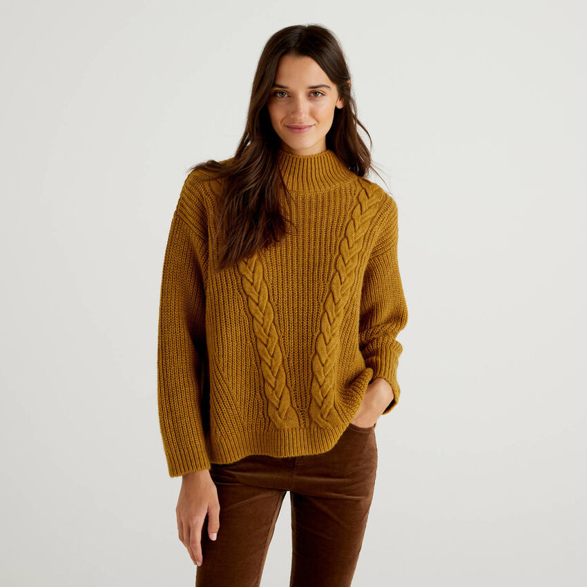 Knit sweater with high neck
