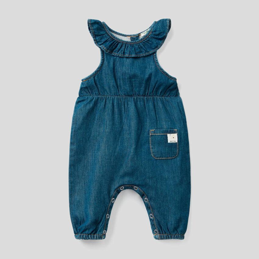 Lightweight denim overalls with frill