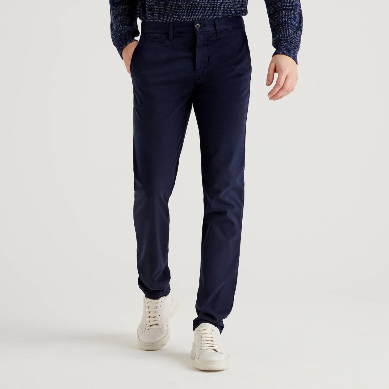 Dark blue slim fit chinos