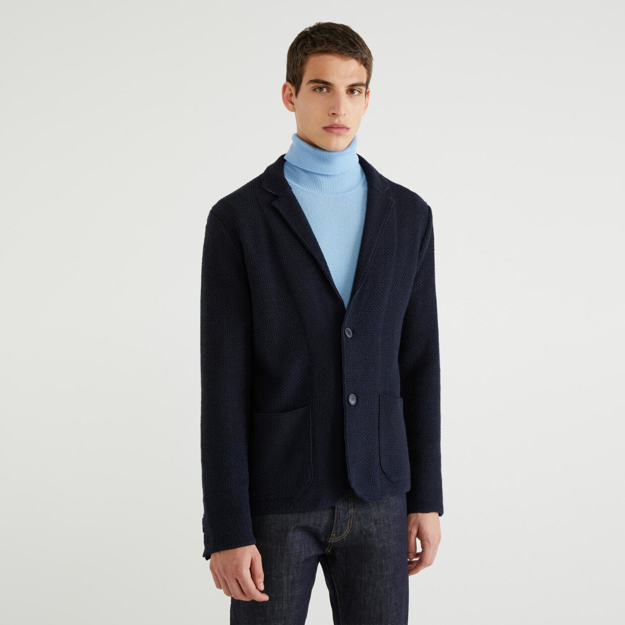 Single-breasted knit jacket