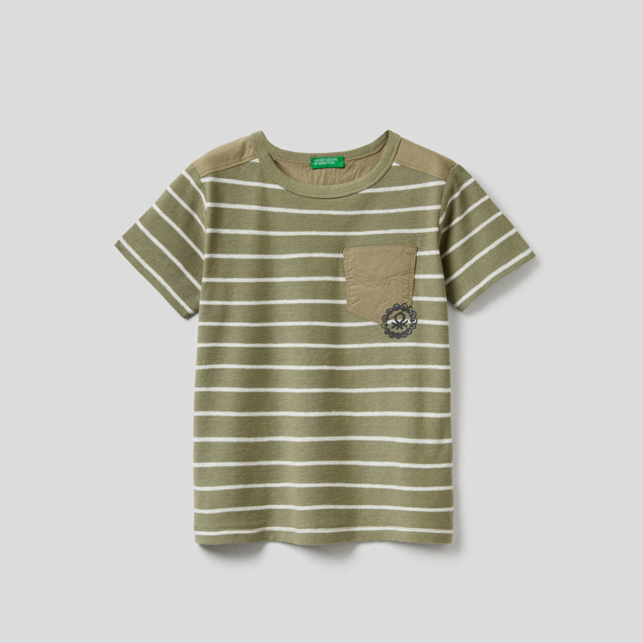 Striped t-shirt in linen blend cotton
