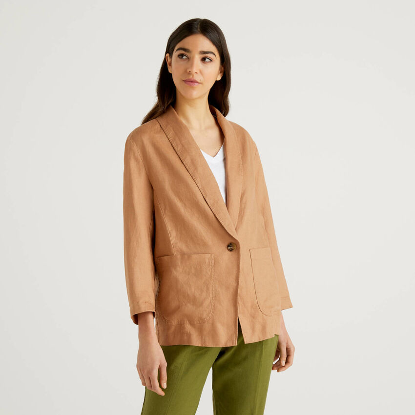 Linen blazer with 3/4 sleeves