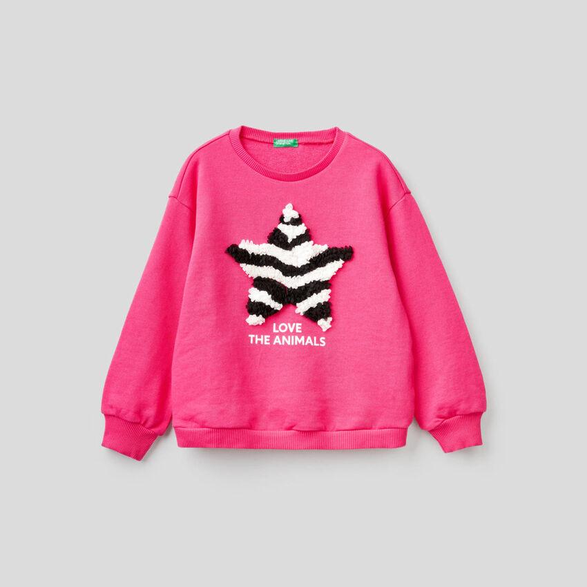 Sweatshirt in 100% cotton with applique
