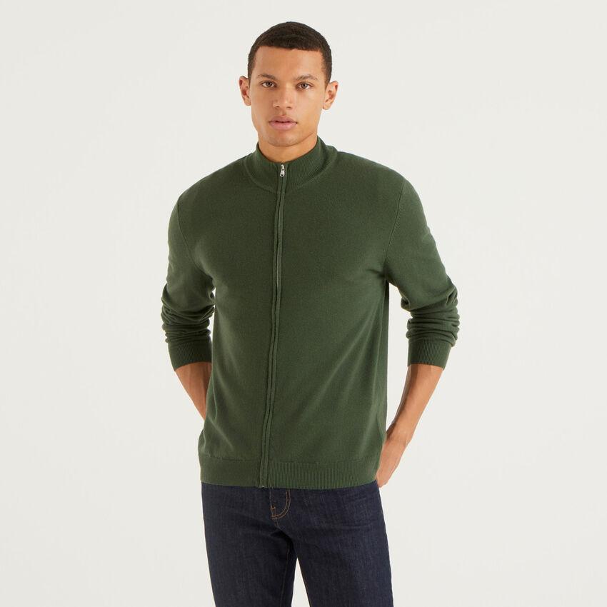 Military green zip-up cardigan in pure virgin wool