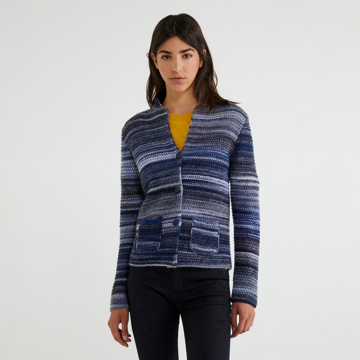 Multi-color knit jacket
