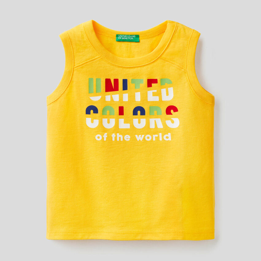 Yellow tank top with print