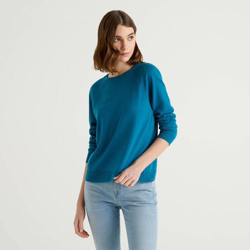 Jersey de cuello redondo petróleo en mezcla de lana y cachemir