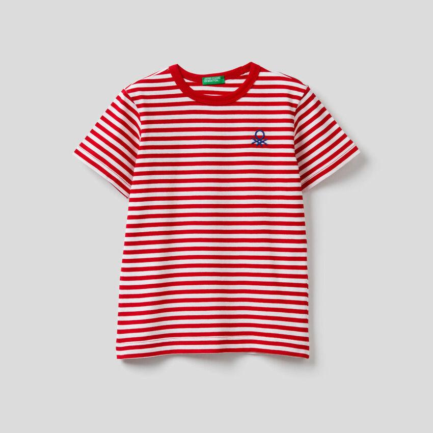 Camiseta de rayas de 100 % algodón